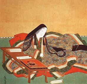 First novelist Murasaki Shikibu at work